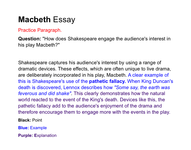 macbeth essay structure The structure of a shakespearean tragedy born kin premium 1262 words 6 pages lady macbeth essay of tragedy the structure should be.