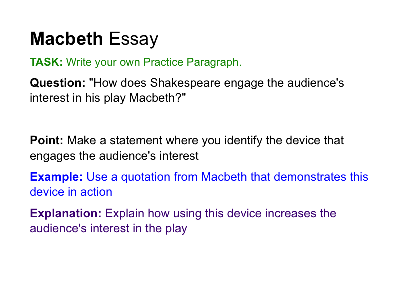 macbeth 8 essay Macbeth essay writing tips format quotations formal literature essay style themes : key vocabulary techniques : key vocabulary characters : key vocabulary essay cohesion : key vocabulary.